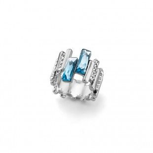 Oliver Weber Women skyline light blue aqua ring with Swarovski Crystals