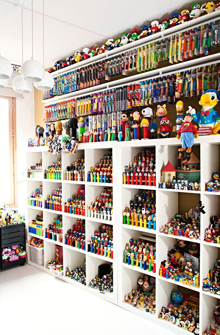 """possible idea for the bedroom for storage of various """"collections"""" such as action figures for airforce, army, navy, marines, legos, Star Wars, Avengers, etc. A """"surplus"""" of collections put away/shelved/stored neatly."""