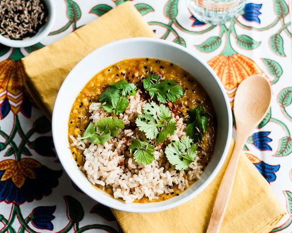A hearty, healthy slow cooked red lentil dal recipe with Indian spices. Vegan and gluten-free.