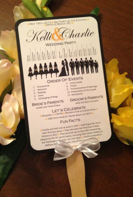 Free wedding program with bridal party silhouettes