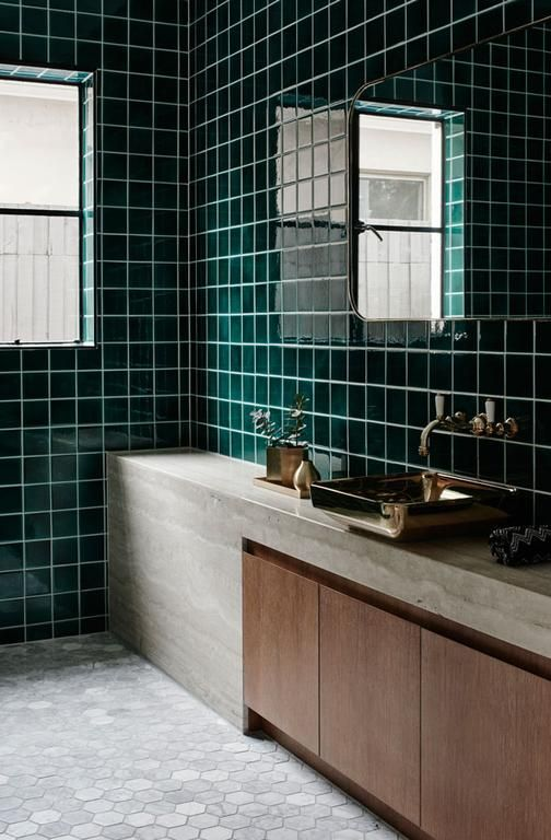 Very cool material combination and choice of tiles.