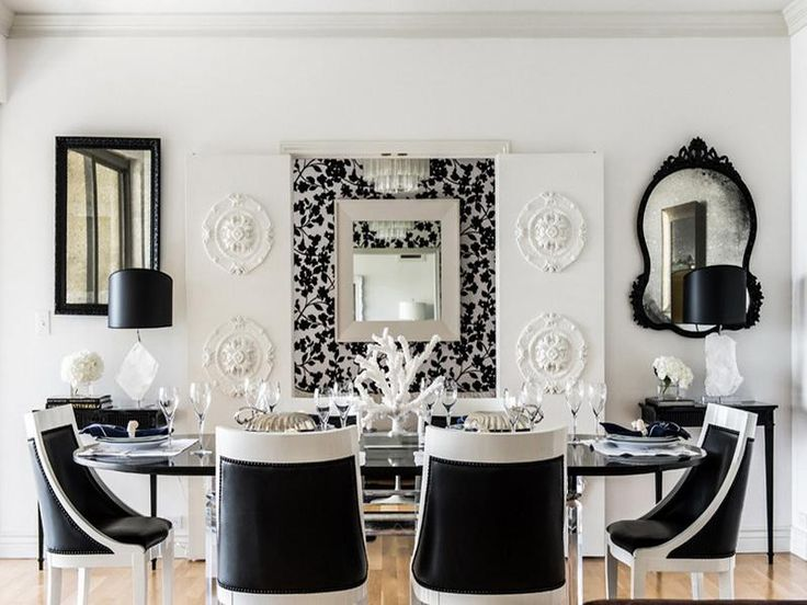 Source: Janet Rice Interiors Lovely Black U0026 White Dining Room With Folding  Doors Augmented With With Medallions, Mismatched Black Mirrors, Twin Glossy  Black ...