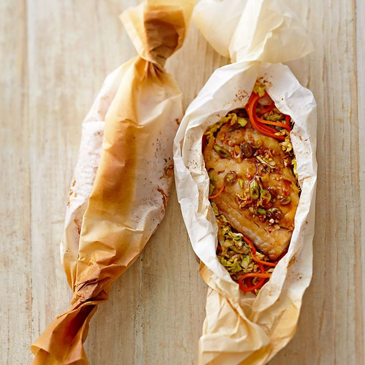 Ginger-Soy Red Snapper en Papillote (Parchment) - was a bit on the salty side, maybe reduce soy sauce next time?