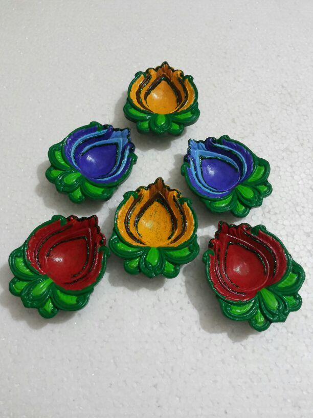 Set Of 6 lotus shaped #handpainted earthen #lamps/#diyas Price: 355 Rs. Cash on delivery