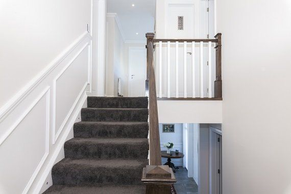 Traditional carpet stairs with timber balustrade - Christchurch, NZ