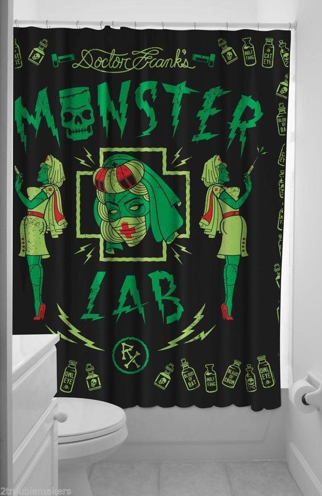 Sourpuss Monster Lab Shower Curtain Tattood Rockabilly Zombie Nurses Pin-up Punk