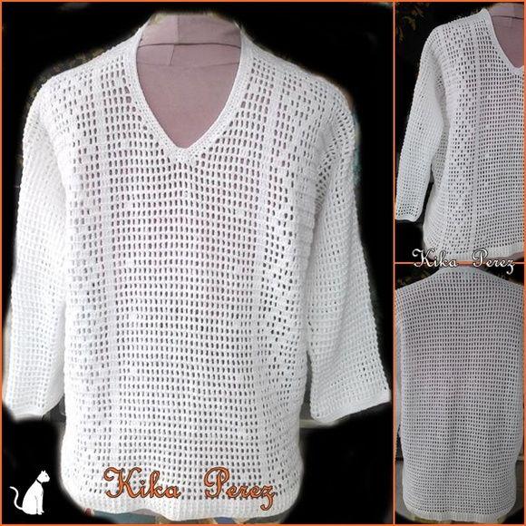Blusa masculina em linha, manga longa, curta ou 3/4, tecemos na cor de sua preferencia. R$ 220,00