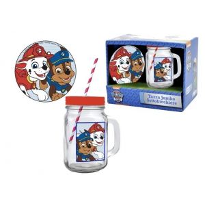 Paw Patrol mug with straw + mat