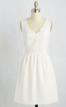 25 Bridal Shower Dress Ideas Under $150: White scalloped dress for bridal shower