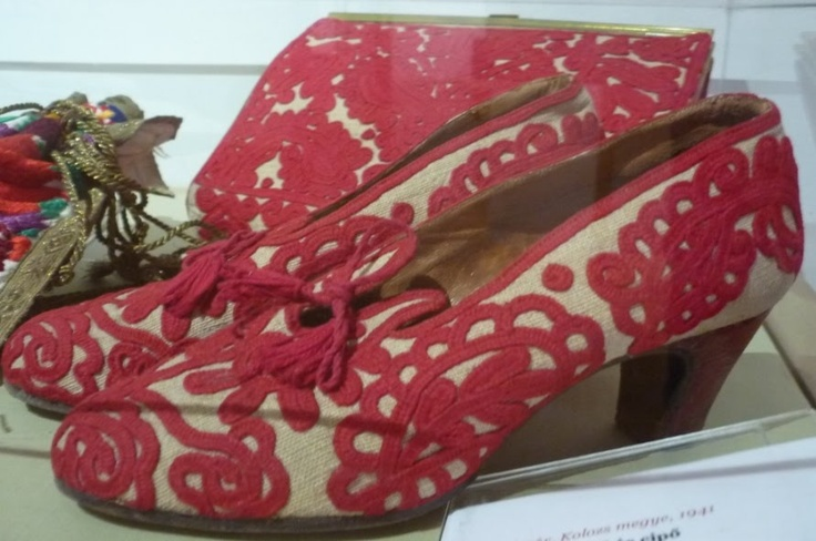 Shoes with embroidered traditional folk motifs from Kalotaszeg, Transylvania