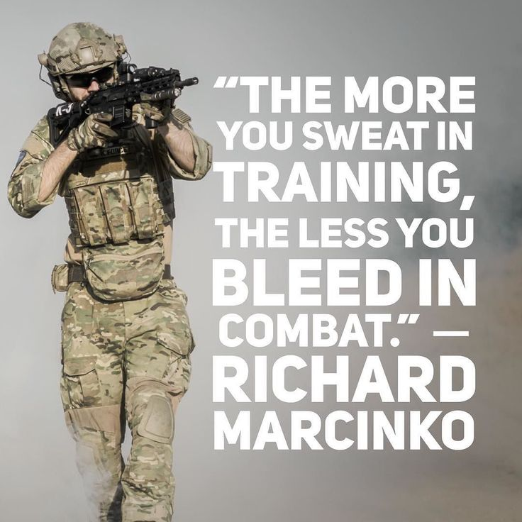 The more you sweat in training the less you bleed in combat.  Richard Marcinko #motivationalquotes #quoteoftheday #brandsteer