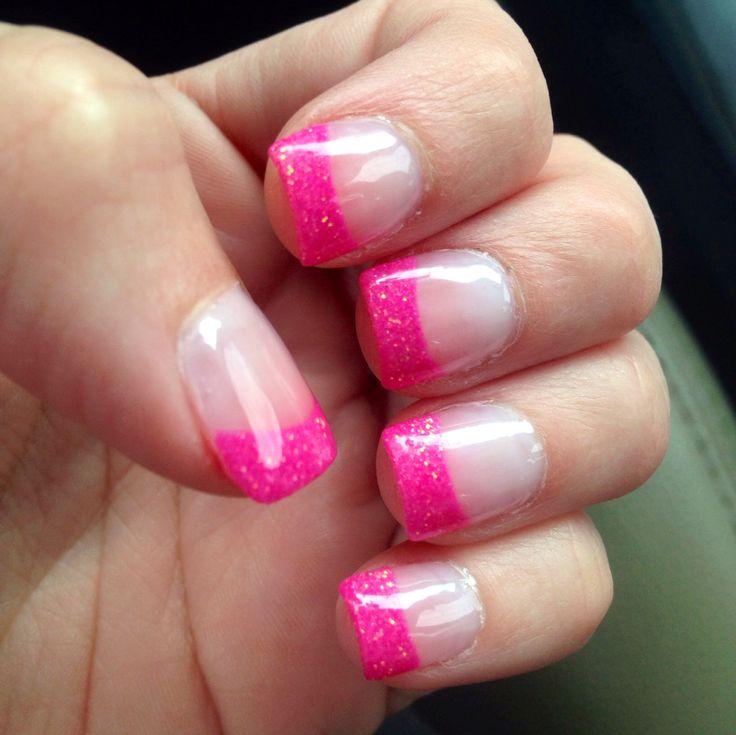 Pink glitter tips! Solar nails.
