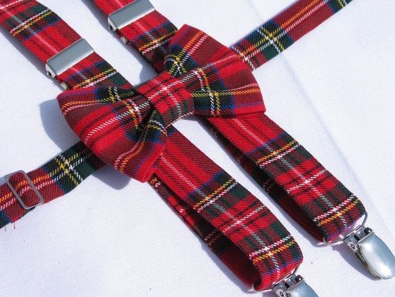 Royal Stewart Tartan Suspenders and Bowtie Red by dolldressedup