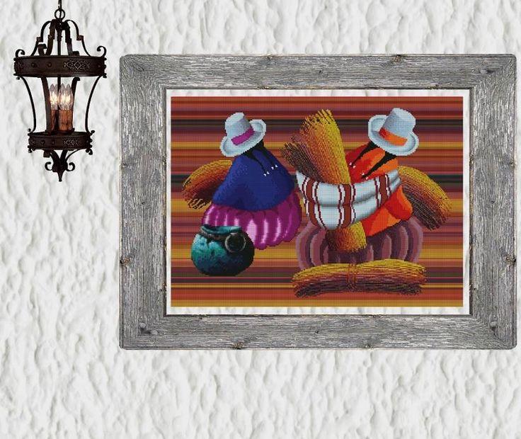 """✄ PATRON PUNTO CRUZ  """"Cosecha de Totoras""""   Para bordar con Hilos DMC  277 Puntos de Ancho  185 Puntos de alto  - Medida aprox, del bordado, si es en tela Aida de 14: 50 cm ancho x 33,5 cm de alto http://puntocruzandino.weebly.com/"""