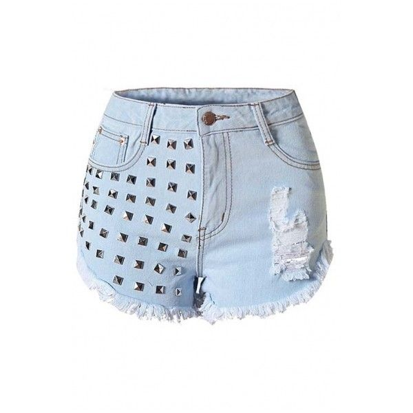 Women's Ripped Hole Jeans High Waist Rivets Denim Shorts (1.255 UYU) ❤ liked on Polyvore featuring shorts, bottoms, destroyed jean shorts, high waisted shorts, ripped jean shorts, distressed shorts and high-waisted jean shorts
