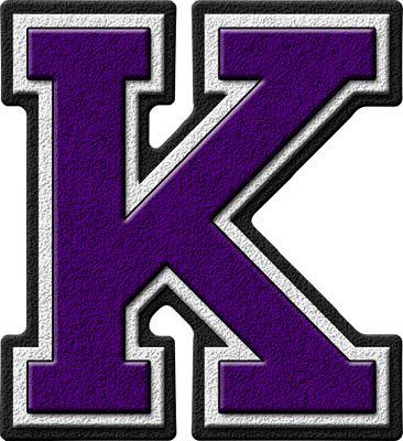 Presentation Alphabets: Purple Varsity Letter K