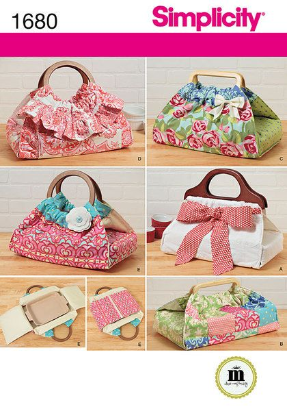 Create your own stylish, insulated food carriers. Pack up your pans and dishes for those potlucks, church socials and tailgate parties in style. Wraparound carriers and purchased handles make it easy to carry contents securely. Whimsical bow, trim, ruffle and flower accents make them unique. Choose fabric that suits your style and the occasion. Simplicity sewing pattern.