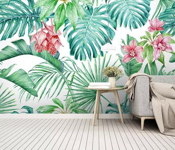 Hand Painted Tropical Botanic Wallpaper Removable Fabric Wall Paper Tropical Leaf Wall Mural Peel And Stic Entryway Wall Decor Wall Decor Removable Wall Murals