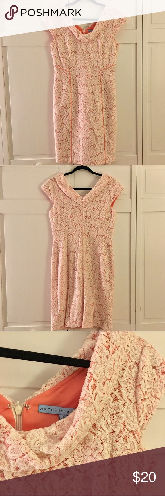 NWOT Antonio Melani Coral Lace Dress This is is a beauty Coral and crochet Lace Dress by Antonio Melani. It's perfect for a more formal work function or fancy date night. Never Worn. NO Trades. NO Pal. Price is Firm. ANTONIO MELANI Dresses