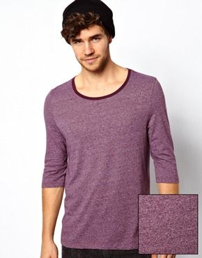 Image 1 of ASOS 3/4 Sleeve Scoop Neck T-Shirt In Textured Fabric