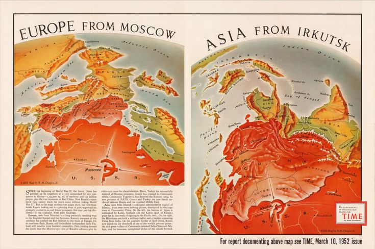 Europe from Moscow|Asia from Irkutsk (1952)