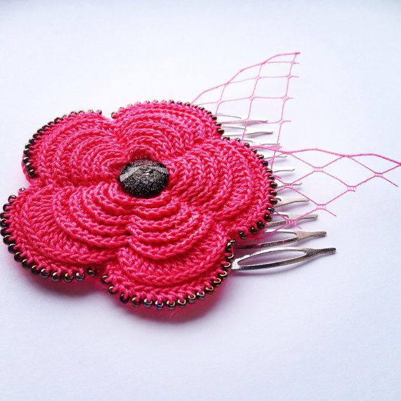 Hot pink flower rose hair comb accessories with black bead detail on Etsy, €28.00
