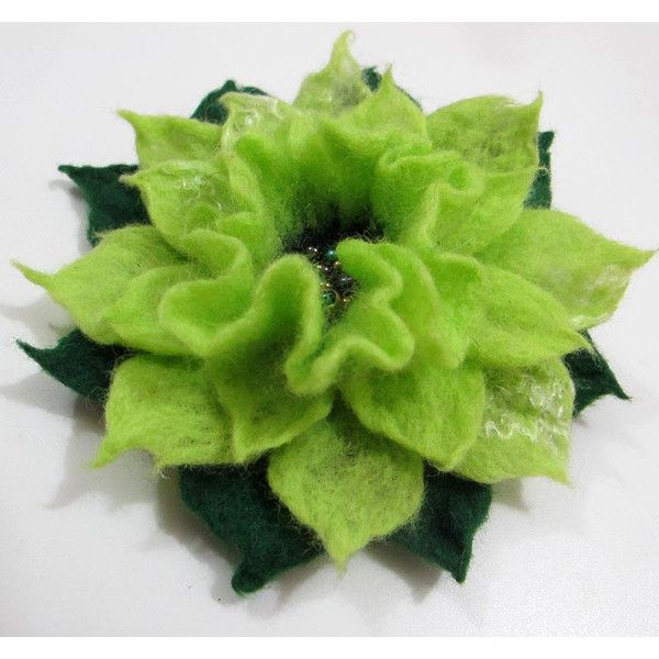 Felt flower brooch  Green  Apple Online shopping for Brooches and Pins... (€19) ❤ liked on Polyvore featuring jewelry, brooches, felt brooches, blossom jewelry, pin brooch, felt jewelry and flower pin brooch