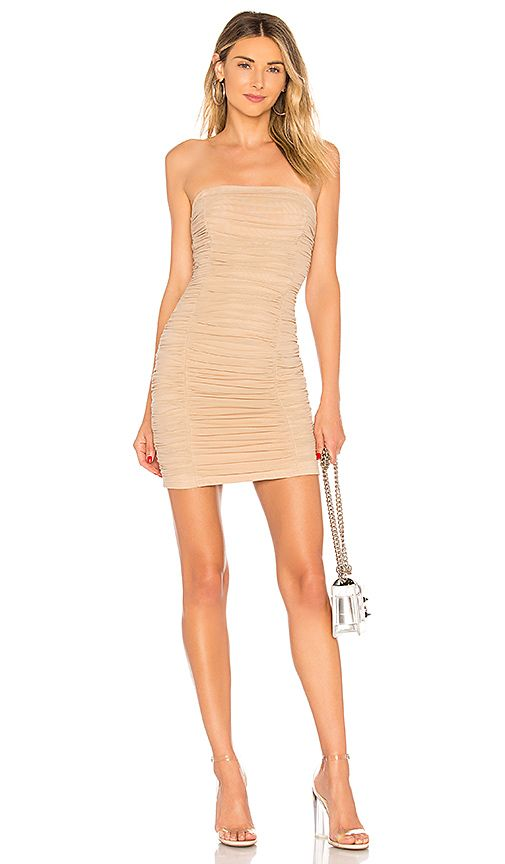 346e84ccbd Ivanna Ruched Sheer Strapless Dress in Nude