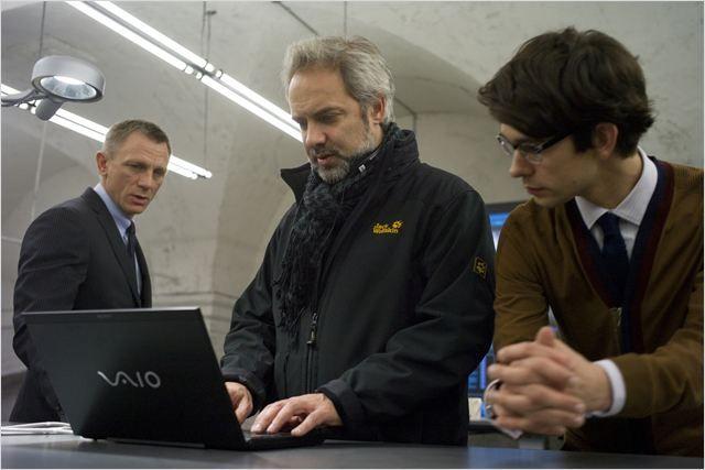 Ben Whishaw, Daniel Craig, Sam Mendes on the set of Skyfall