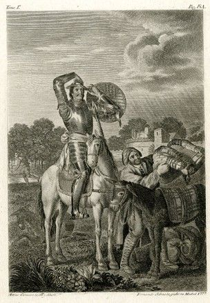 Don Quijote a caballo tratando yelmo de Mambrino en; Sancho poniendo una silla de montar sobre su burro a derecha; en el fondo Hombre corriendo a la izquierda, pueblo a derecha; ilustración de Cervantes 'Don Quijote'. 1777 Grabado