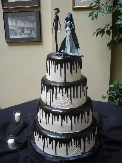 Corpse Bride Wedding Cake  I mean look at it! its beautiful!!! I love the White webs with the Black Drips. seriously gorgeous. and i love the tiny little doggy Scraps.