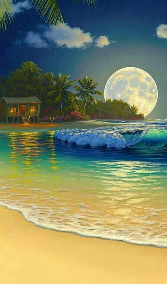 Beautiful beach moon scene