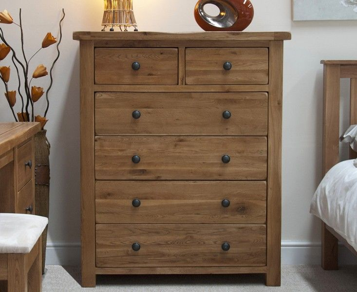 Buy the Bramley Oak 2 Over 4 Drawer Chest at Oak Furniture Superstore £439