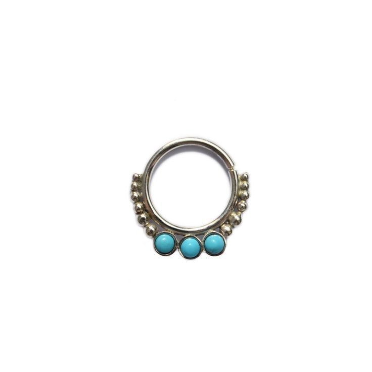 Idée et inspiration bague:   Image   Description   Silver SEPTUM RING 2mm Turquoise / helix piercing, tragus earring, septum 18g, nose ring, cartilage earring hoop, septum hoop