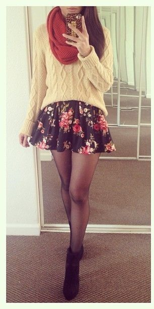 Love the comfy scarf, sweater and floral skirt but I'm not a fan of the tights