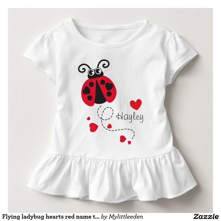 Flying ladybug hearts red name t-shirt art and design by www.mylittleeden.com