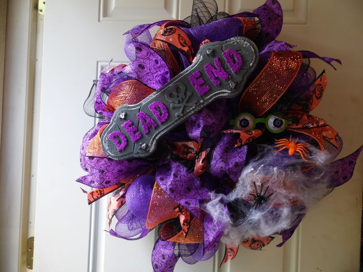 "30"" Halloween Wreath with Dead End sign and eyeballs watching you. Great addition to your Halloween Decor."
