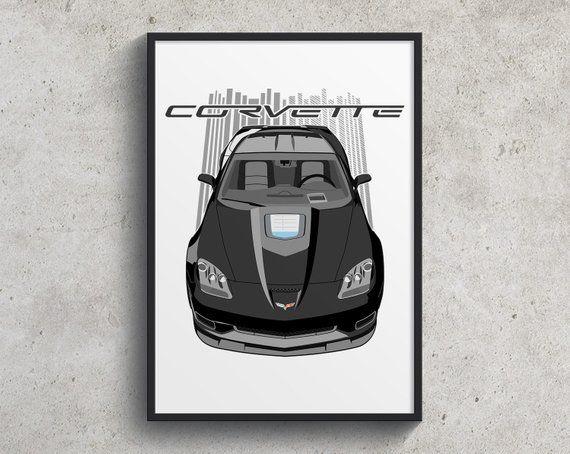 Chevrolet Corvette C6 Zr1 Poster Black Corvette Gift Etsy Chevrolet Corvette Corvette Car Art