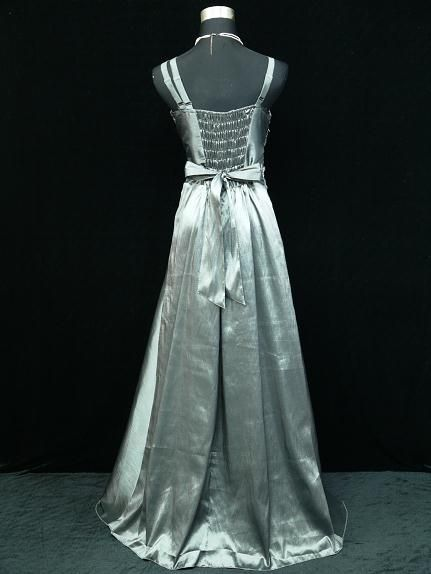 Size Satin Grey Ball Prom Wedding/Evening Gown Dress UK 18 20