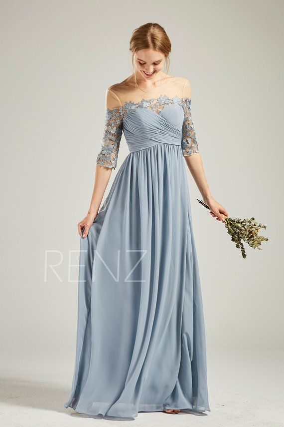 30f40bc5202 Dusty Blue Chiffon Bridesmaid Dress Wedding Dress Half Sleeve Maxi ...