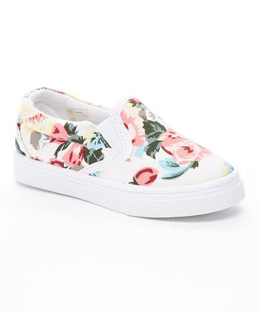Another great find on #zulily! White Floral Slip-On Sneaker #zulilyfinds