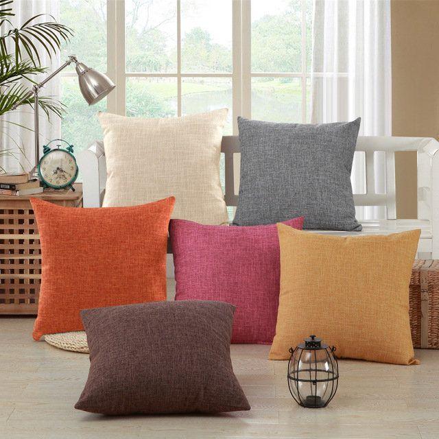 Square Solid Pillow Case Sofa Car Waist Throw Soft Cushion Cover Home Decor