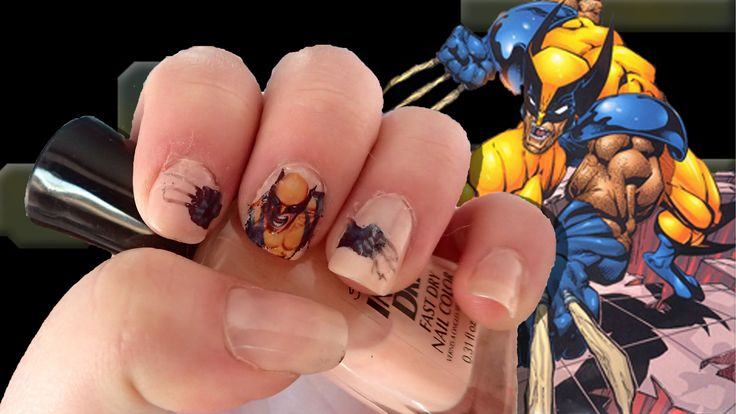 Wolverine nails done with a temporary tatoo