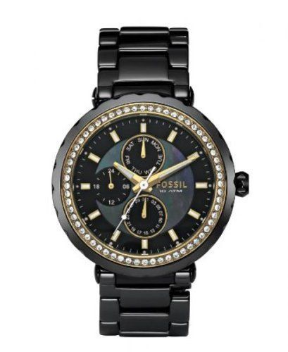 Fossil Women's CE1013 Black Ceramic Quartz Watch with Black Dial Fossil. $147.23. White Leather Strap. Chronograph Display. Save 35% Off!