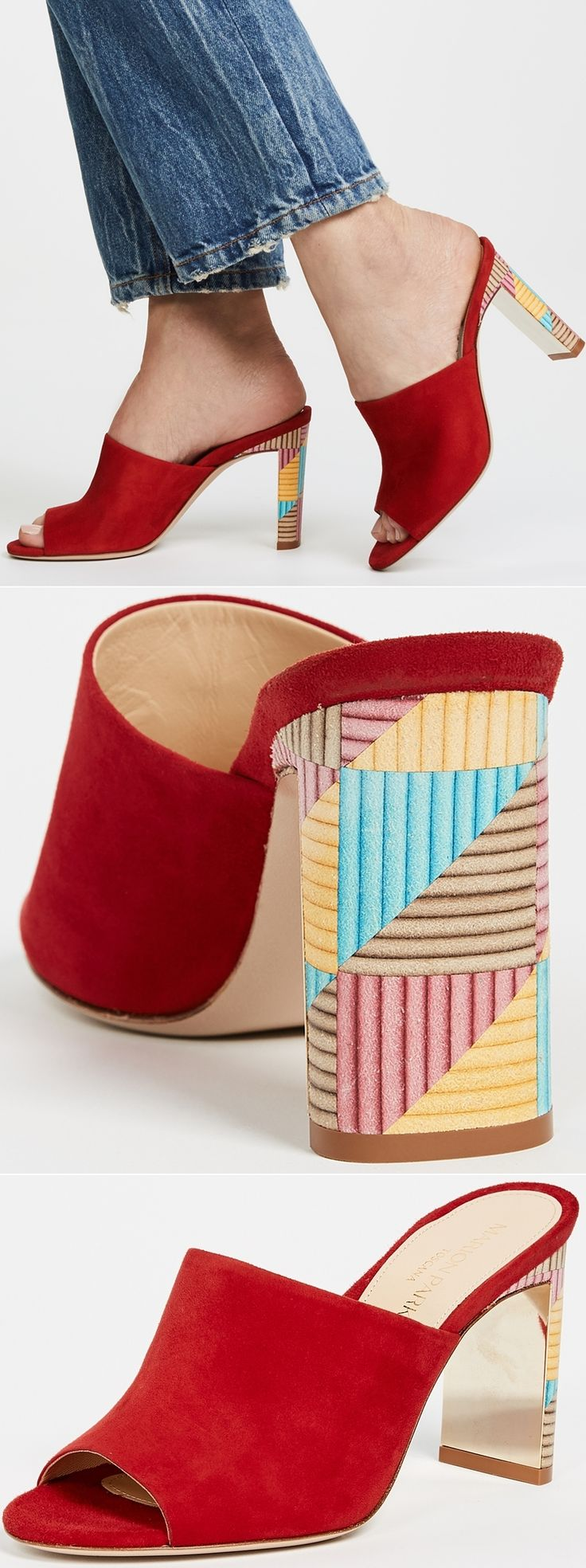 Bold red and a fun geometric pattern on the heel make these Marion Parke Louisa Mules an irresistibly exciting addition to your stand-out shoe collection