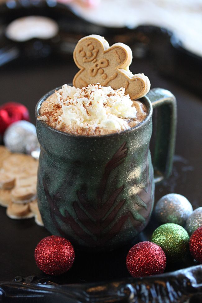 Gingerbread Hot Cocoa is like drinking a chocolate gingerbread cookie! It's Christmas in a cup if I ever saw one.