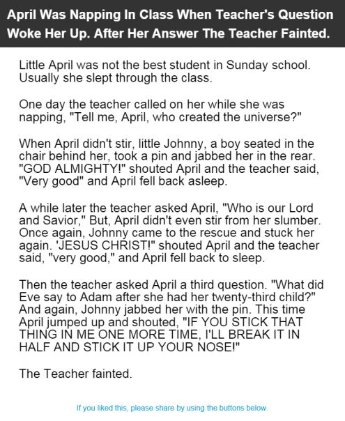 April Was Napping In Class When Teacher's Question Woke Her Up. After Her Answer The Teacher Fainted.
