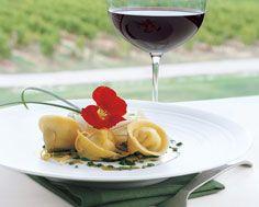 Agnolotti of Ciel Bleu Cheese and Bosc Pear with Pesto