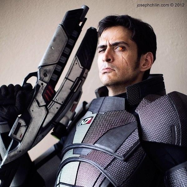 Mark Meer (MaleShep's VA) cosplaying as Commander Shepard: Photo