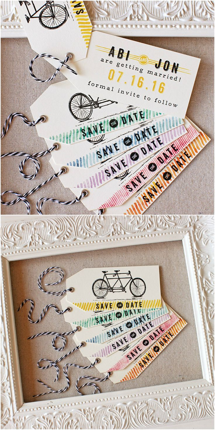 Tandem Bike Wedding Save the Date | watercolor | Sunshine and Ravioli